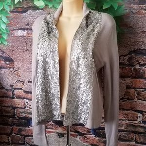 Open Front Silver Sequin Trim Long Sleeve Cardigan